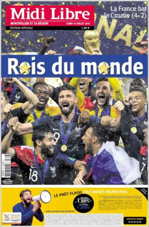 قهرمان جام جهانی 2018 نشریات فرانسوی 2