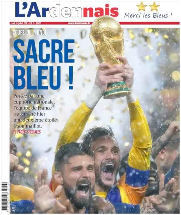 قهرمان جام جهانی 2018 نشریات فرانسوی