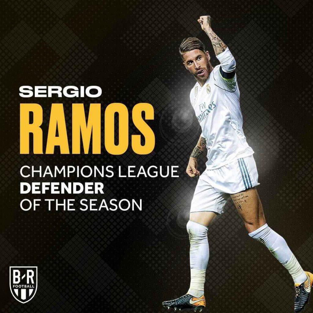 سرخیو راموس بهترین مدافع فصل لیگ قهرمانان اروپا