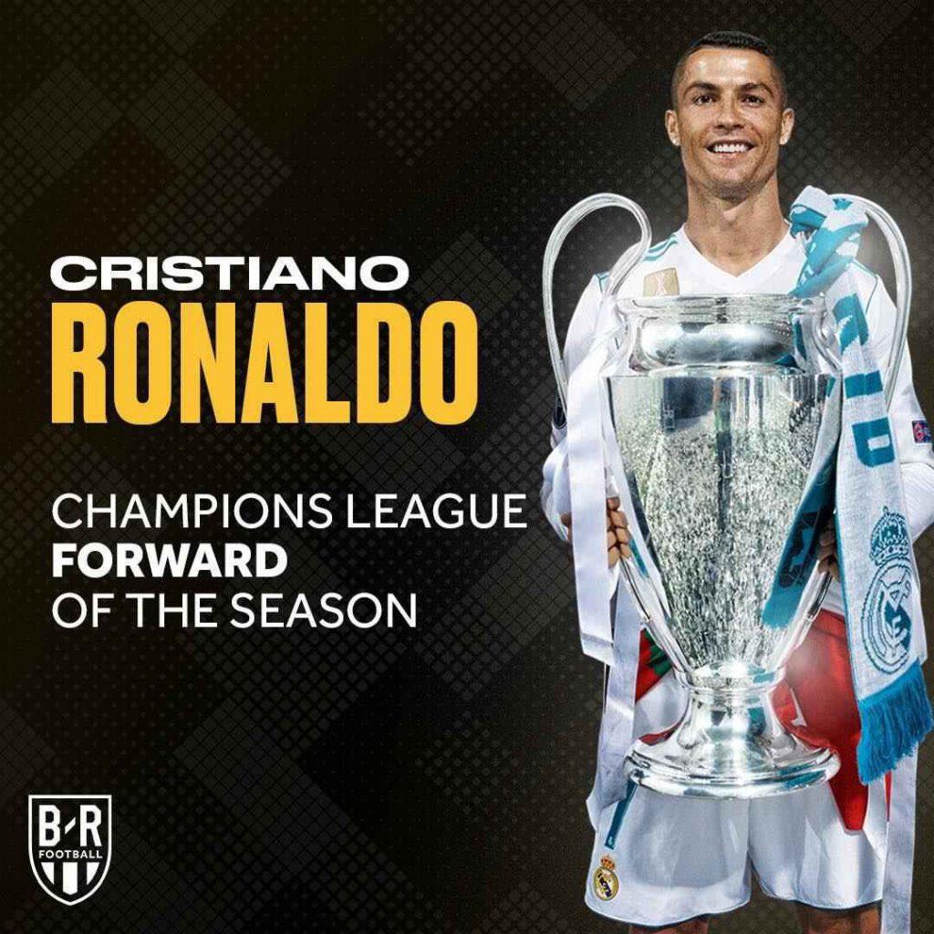 کریستیانو رونالدو بهترین مهاجم فصل گذشته لیگ قهرمانان اروپا