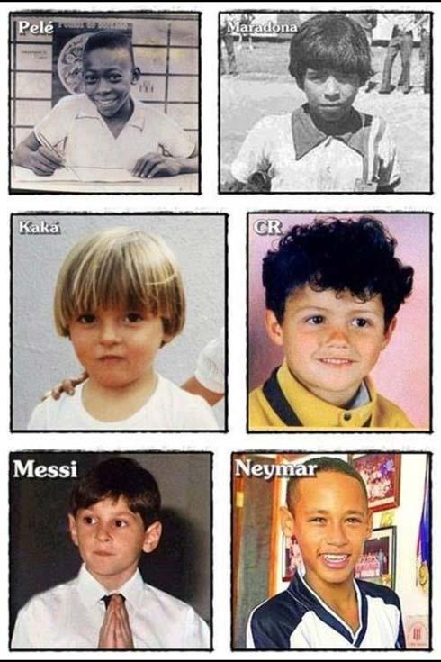 کودکی پله، مارادونا، مسی، رونالدو، کاکا و نیمار