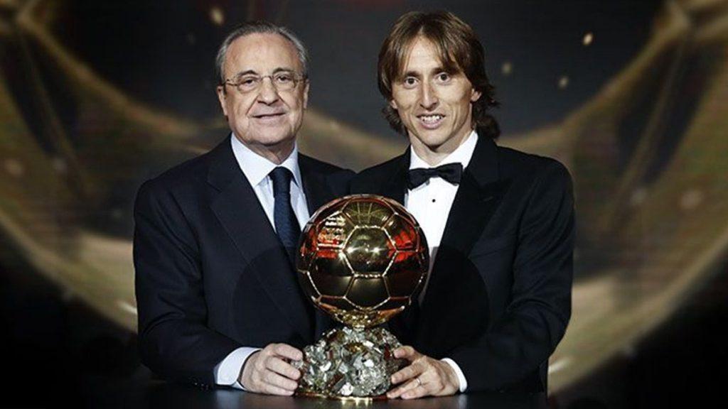 فلورینتینو پرز و لوکا مودریچ توپ طلای 2018