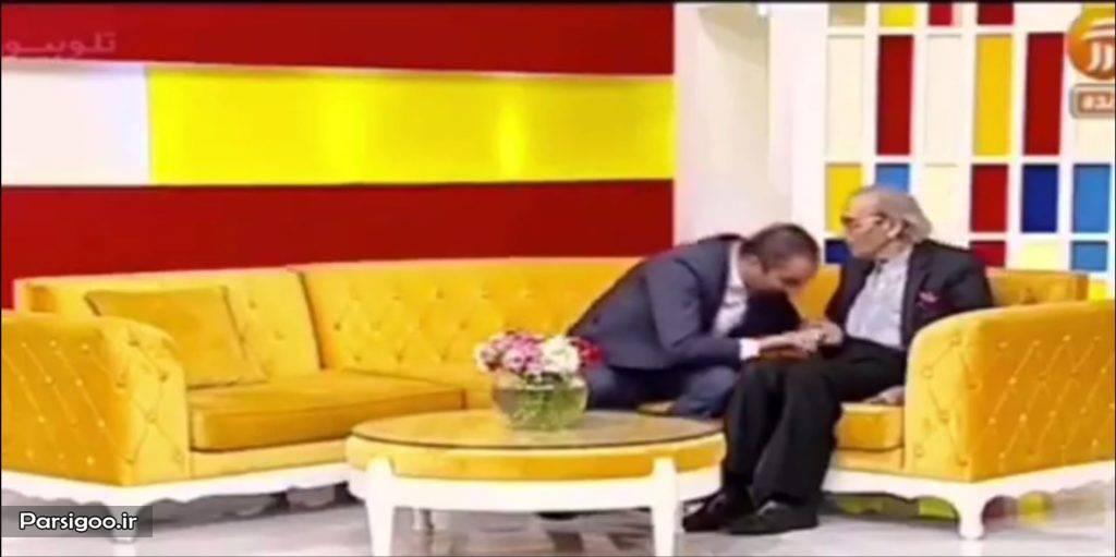 بوسیدن دست پرفسور پرویز کردوانی در برنامه زنده توسط نیما کرمی