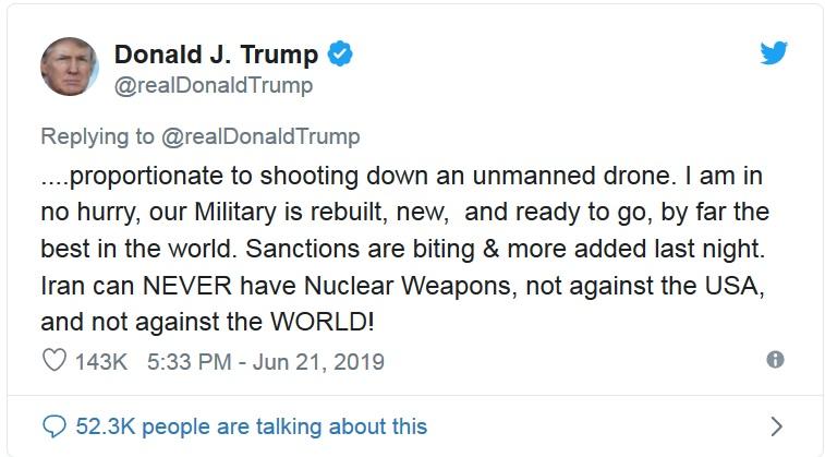 توئیت عجیب ترامپ درباره سرنگونی اشتباهی پهباد آمریکایی توسط سپاه