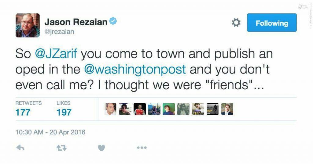 توئیت معنا دار جیسون رضاییان برای جواد ظریف