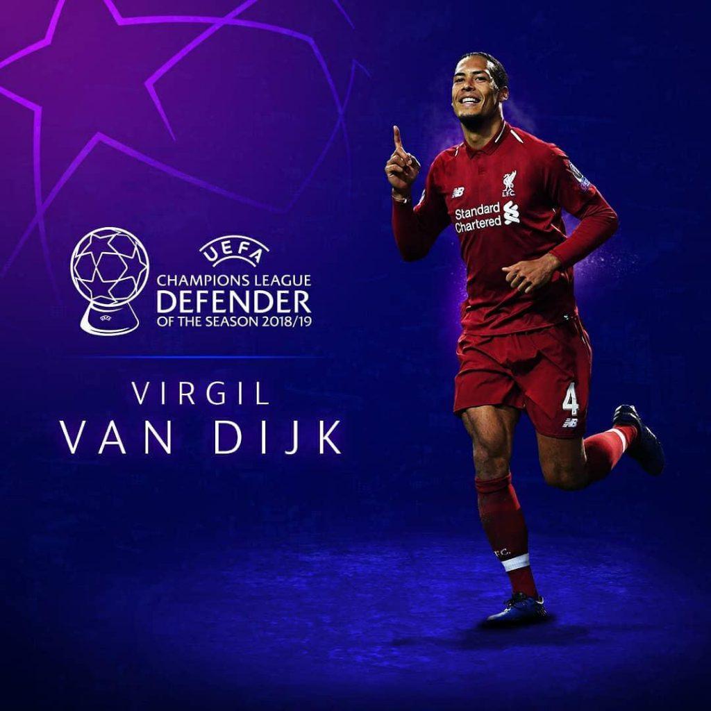 ویرژیل فن دایک مدافع هلندی لیورپول برترین مدافع فصل لیگ قهرمانان