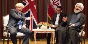 خنده روحانی در دیدار جانسون نخست وزیر انگلیس