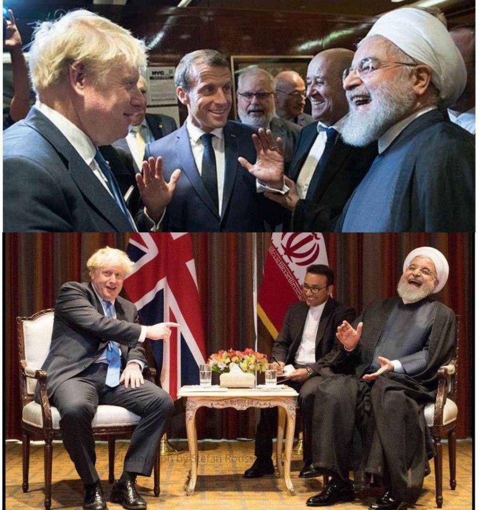 خنده روحانی در دیدار نخست وزیر انگلیس جانسون و ماکرون