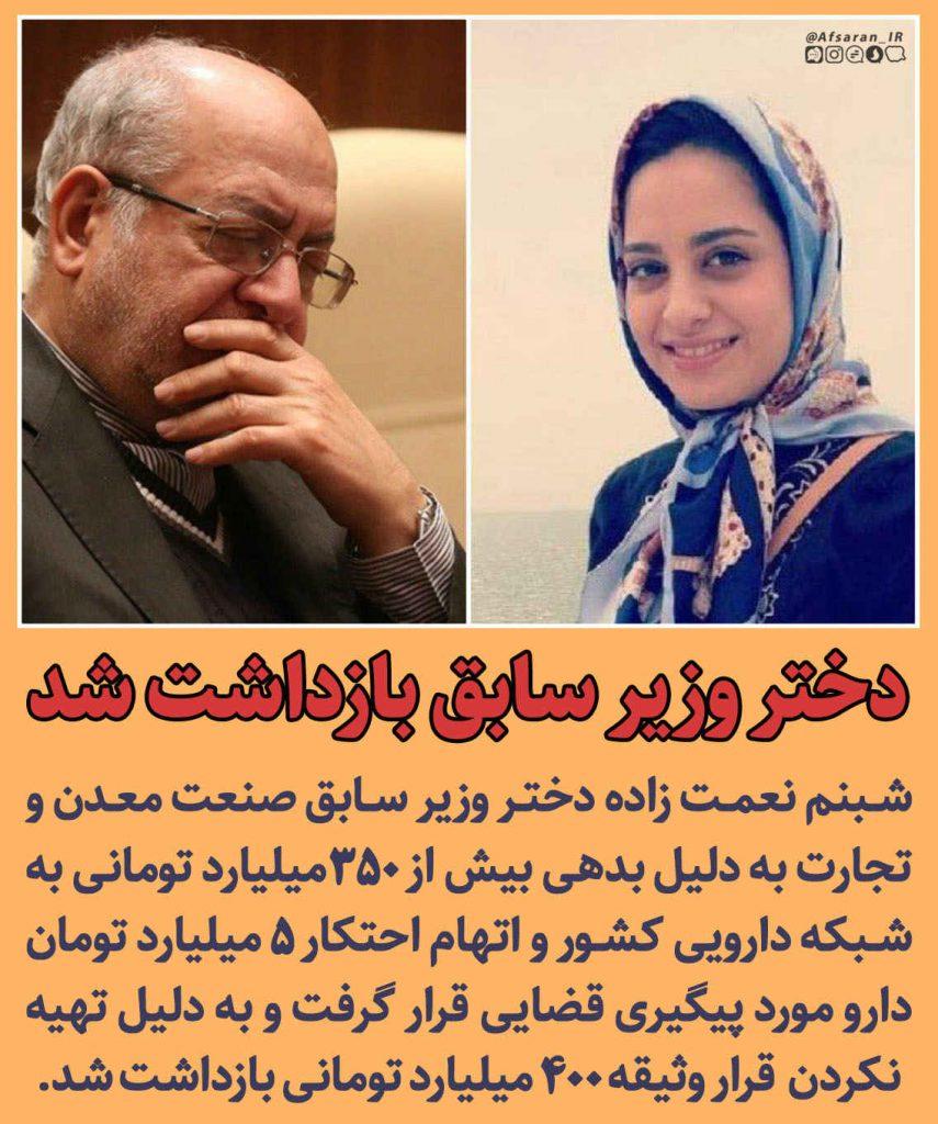 دختر وزیر سابق بازداشت شد. شبنم نعمت زاده و پدرش محمد رضا نعمت زاده