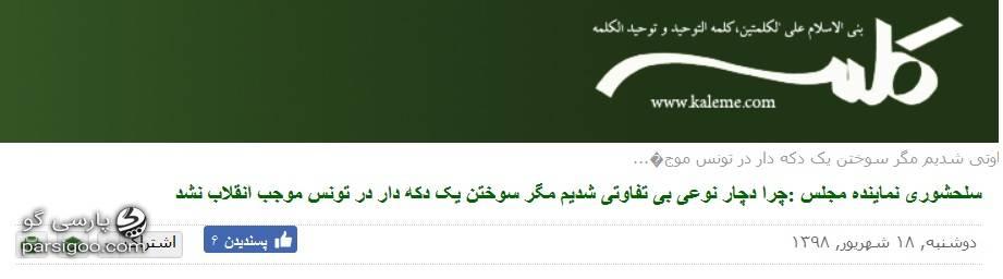 ذوق زدگی سایت کلمه محور رسانه ای فتنه 88 از مواضع پروانه سلحشوری درباره انقلاب تونس و دختر آبی