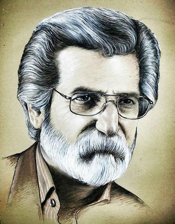 نقاشی چهره استاد حسین سعادتمند نوحه خوان یزدی