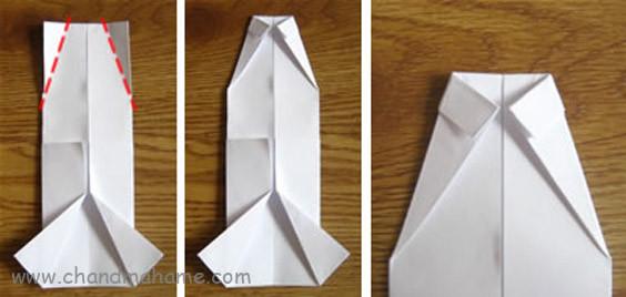 آموزش درست کردن جعبه کادو روز پدر مدل لباس مردانه کاغذ را برگردانید و گوشه های بالا را مثلثی تا بزنید
