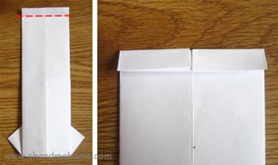 آموزش درست کردن جعبه کادو روز پدر مدل لباس مردانه کاغذ را به پشت برگردایند و 1 سانت از بالا تا بزنید