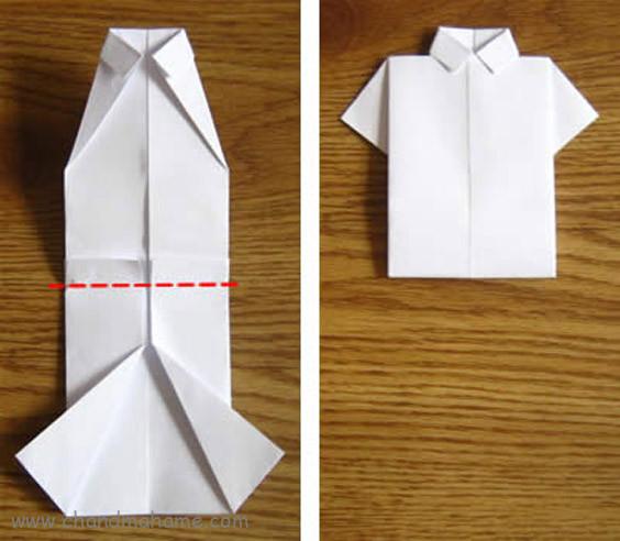 آموزش درست کردن جعبه کادو روز پدر کاغذ را از یک سانتی متر زیر وسط آن تا زده و کاغذ را دولا کنید