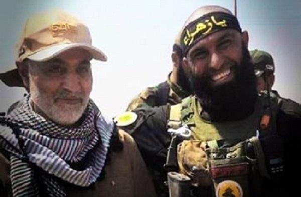 ابوعزرائیل شکارچی داعشی ها در کنار سردار سلیمانی