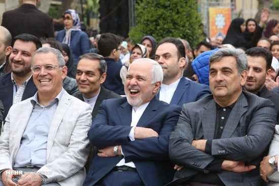 خنده ظریف در کنار حناچی شهردار تهران. حضور همسر ظریف پارک قرق