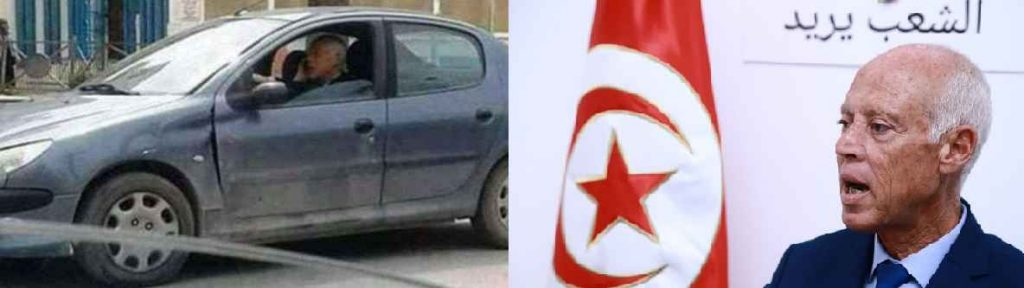 رئیس جمهور تونس سوار بر خودروی ایرانی 206 صندوق دار