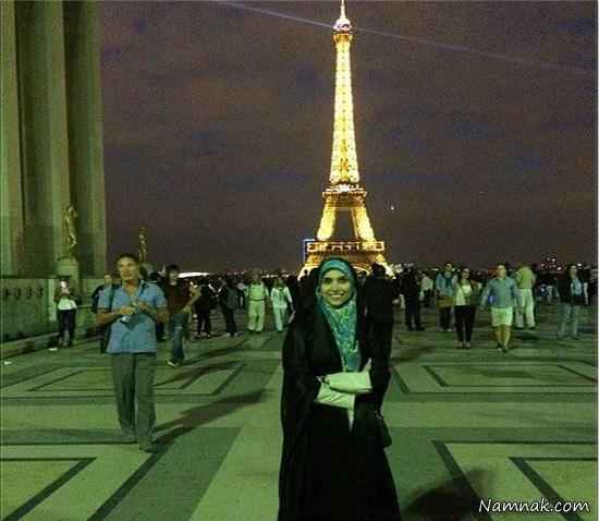 عکس یادگاری مژده لواسانی در فرانسه و در کنار برج ایفل