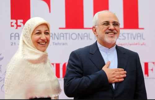 مریم ایمانیه در کنار همسرش محمد جواد ظریف