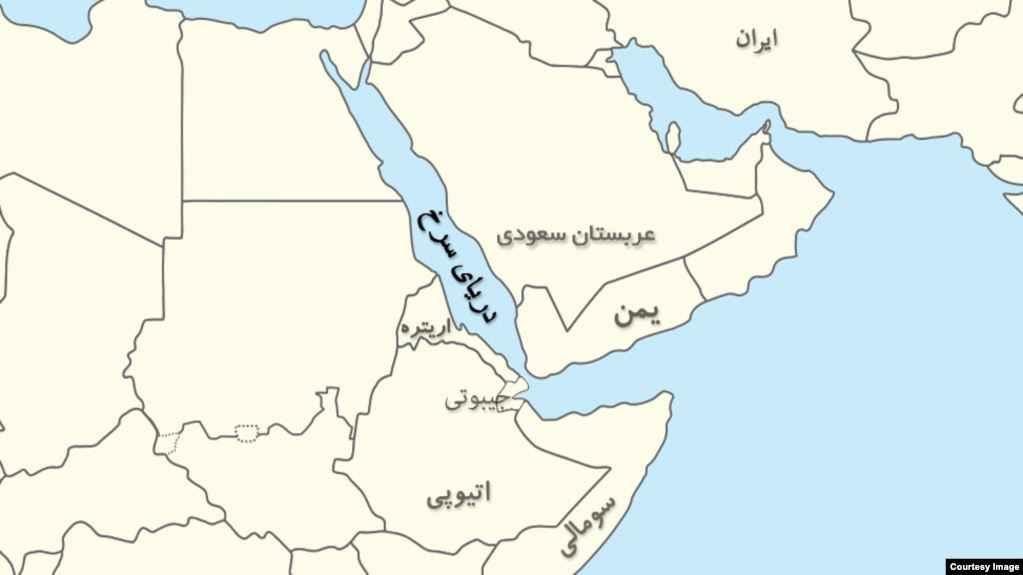 نقشه دریای سرخ. دریای احمد عربستان. نقشه آبی. نقشه راه آبی. نقشه دریاها