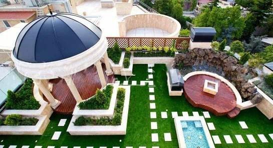 نمونه طراحی فضای سبز پشت بام نمای بسته