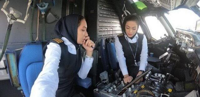 پرواز مشهد. نخستین پرواز با هدایت دو خلبان زن. نشاط جهانداری و همکارش فروز فیروزی