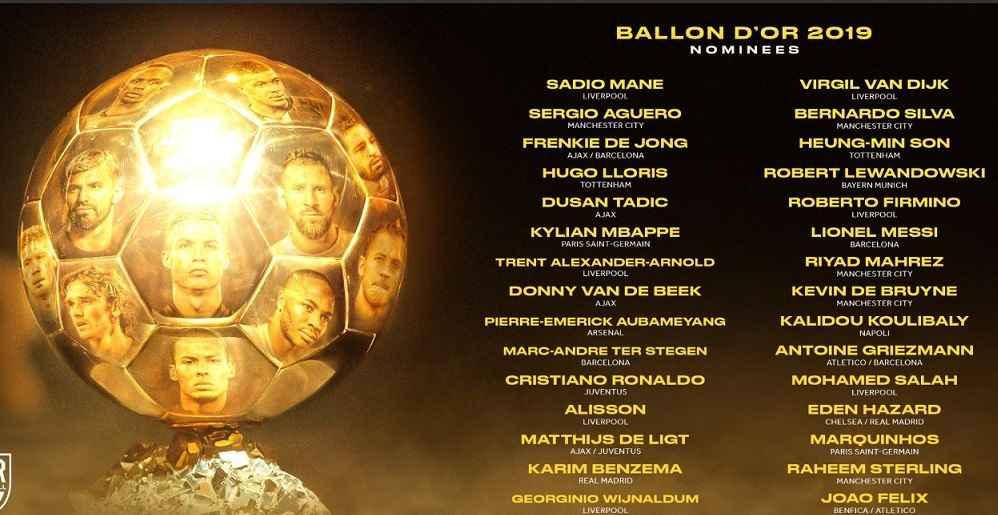 30 نامزد نهایی مراسم اهدای توپ طلا 2019