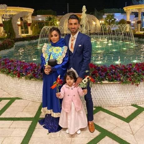 حسین ماهینی و همسرش در عروسی سیامک نعمتی بازیکن پرسپولیس