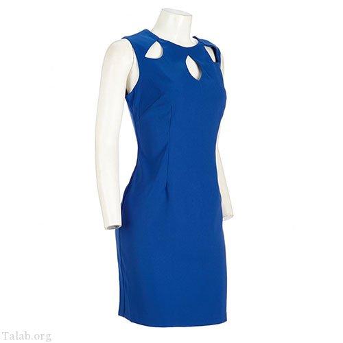 زنانه طرح دوخت لباس آبی ساده