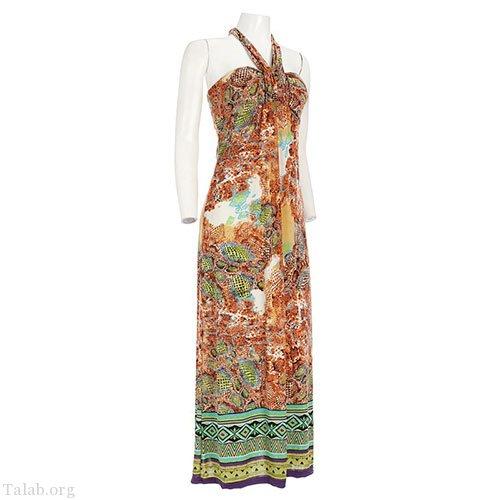 زنانه طرح دوخت لباس بدون یقه دامن بلند