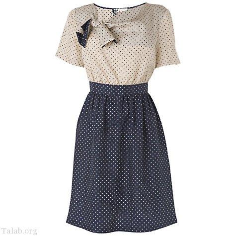 طرح لباس زنانه دو رنگ