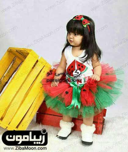 دختر بچه با لباس های یلدایی