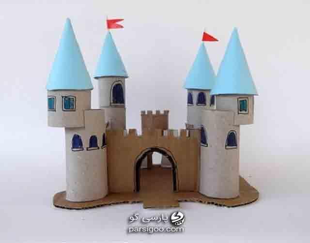 ساخت برج قلعه با استفاده از رول دستمال توالت