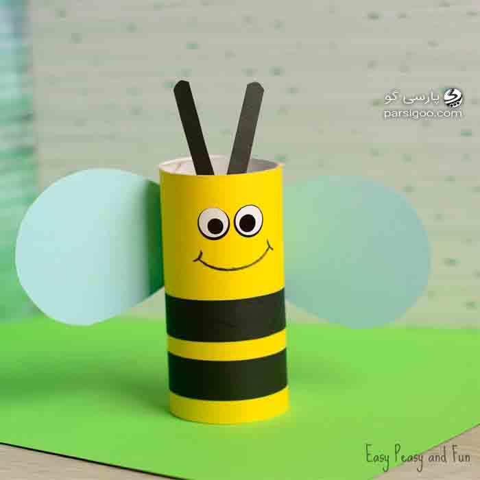 ساخت زنبور با استفاده از رول دستمال توالت