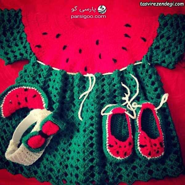 لباس نوزاد طرح هندوانه ای ویژه یلدا
