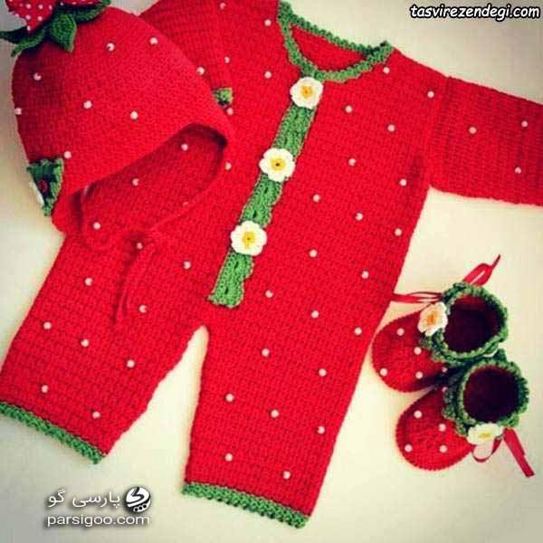 لباس و کفش و کلاه تم یلدا برای نوزاد