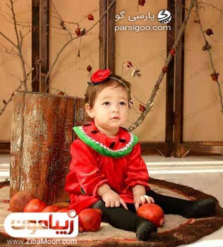 نوزاد با لباس طرح انار ویژه یلدا