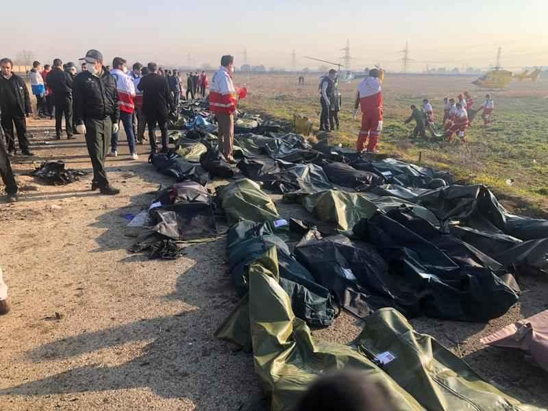 تصویر تکان دهنده از پیکرهای جان باختنگان حادثه سقوط هواپیمای اوکراین