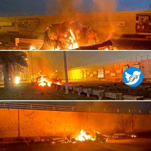 خودروی حامل سردار سلیمانی پس از اصابت موشک