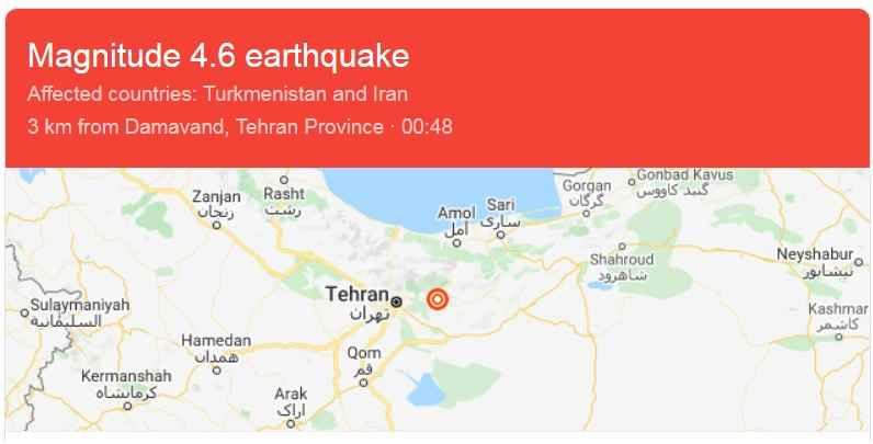 اطلاعات زلزله تهران