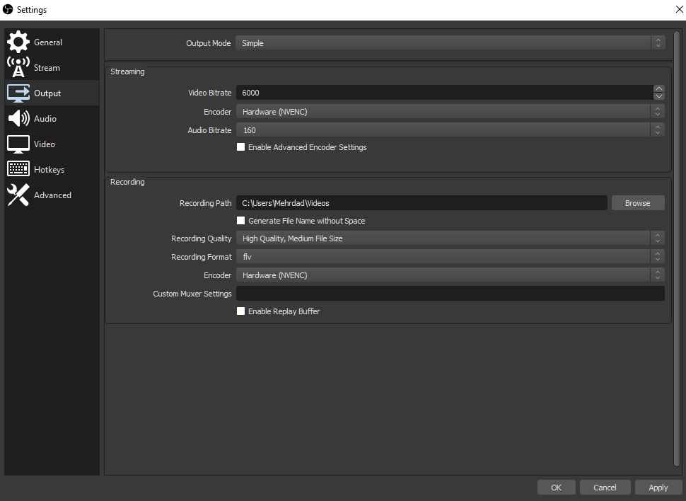 تنظیمات دستی برنامه OBS برای استریم کردن تصویر سوم.