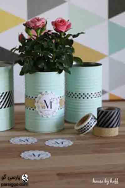 ساخت گلدان زینتی با قوطی خالی رب و کمپوت