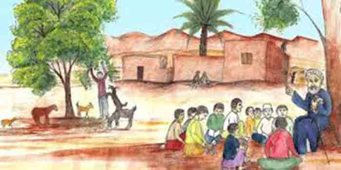 نقاشی پند پیر دانا به مردم نقاشی زندگی ساده روستا نقاشی زندگی قدیمی